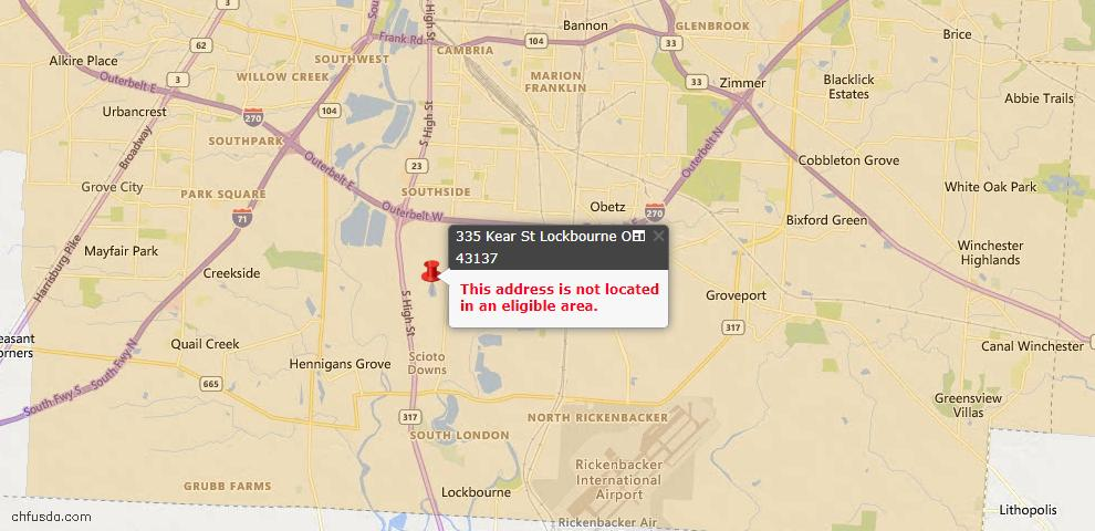 USDA Loan Eligiblity Maps From - 43137, OH