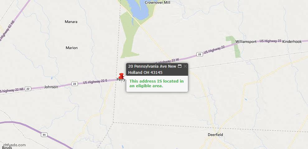 USDA Loan Eligiblity Maps From - New Holland, OH