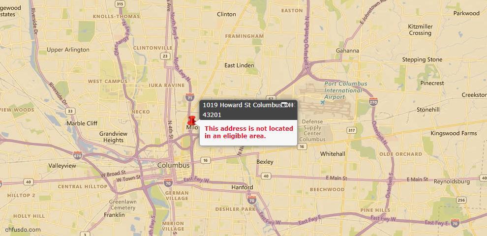 USDA Loan Eligiblity Map - 1019 Howard St, Columbus, OH 43201