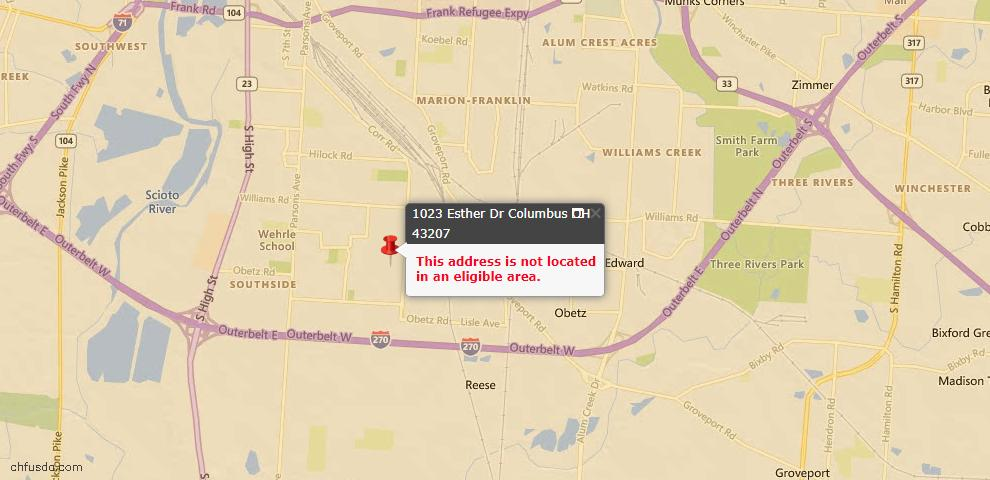 USDA Loan Eligiblity Map - 1023 Esther Dr, Columbus, OH 43207
