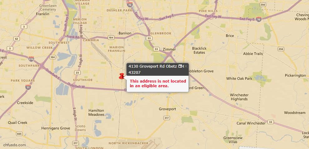 USDA Loan Eligiblity Maps From - Obetz, OH
