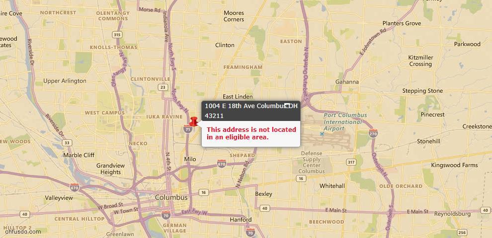 USDA Loan Eligiblity Map - 1004 E 18th Ave, Columbus, OH 43211