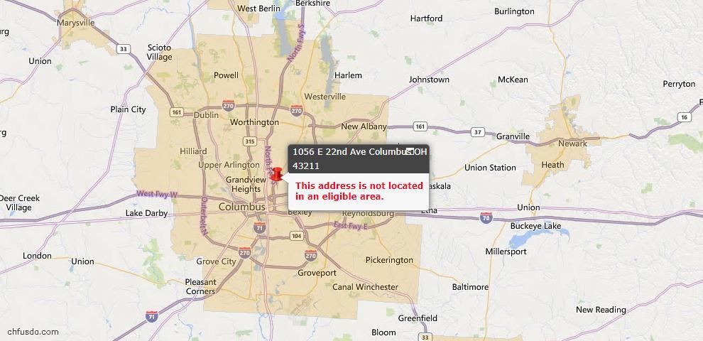 USDA Loan Eligiblity Map - 1056 E 22nd Ave, Columbus, OH 43211
