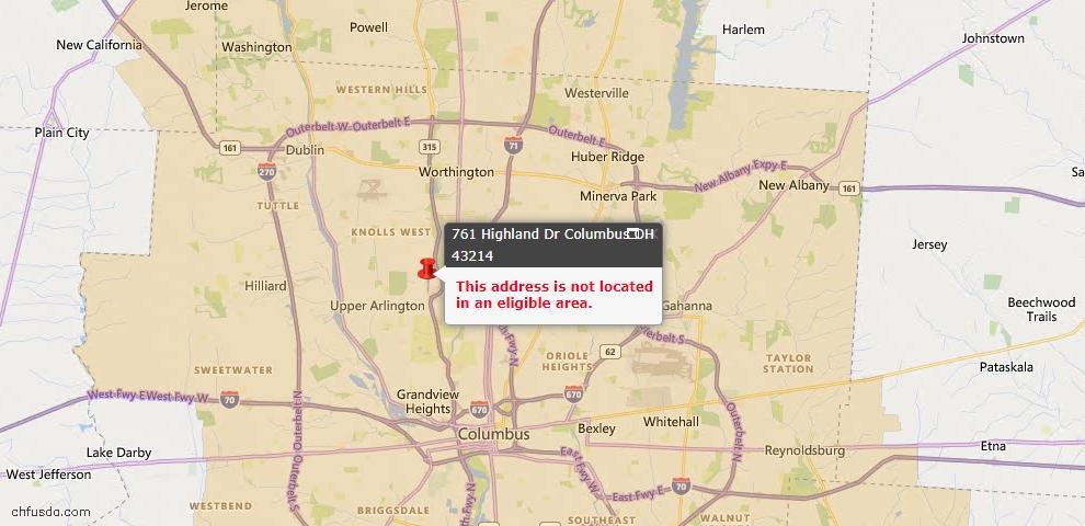 USDA Loan Eligiblity Map - 761 Highland Dr, Columbus, OH 43214