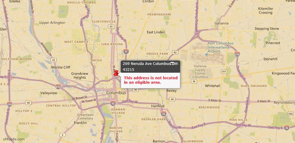 USDA Loan Eligiblity Maps From - 43215, OH