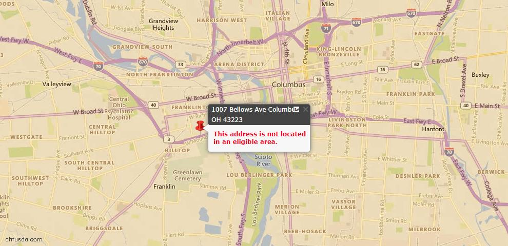 USDA Loan Eligiblity Map - 1007 Bellows Ave, Columbus, OH 43223