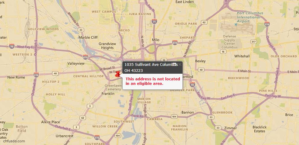 USDA Loan Eligiblity Map - 1035 Sullivant Ave, Columbus, OH 43223