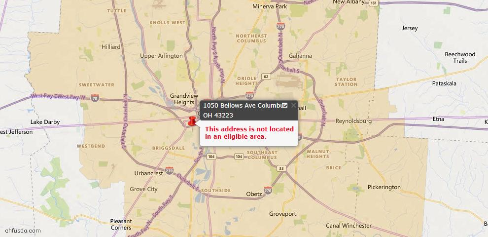 USDA Loan Eligiblity Map - 1050 Bellows Ave, Columbus, OH 43223