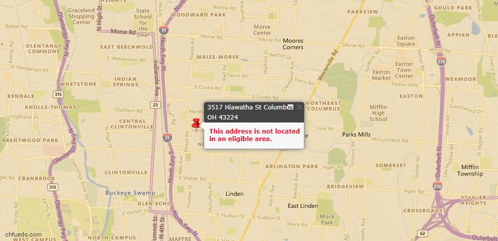 USDA Loan Eligiblity Map - 3517 Hiawatha St, Columbus, OH 43224