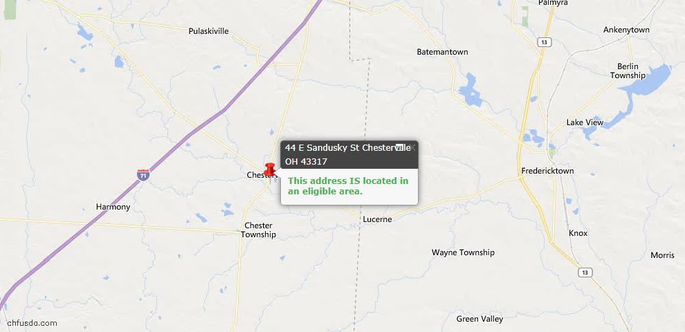 USDA Loan Eligiblity Maps From - Chesterville, OH