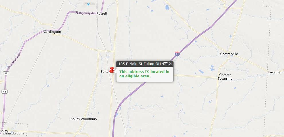 USDA Loan Eligiblity Maps From - Fulton, OH