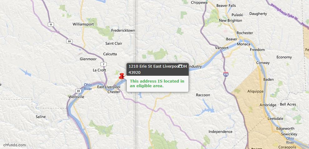 USDA Loan Eligiblity Map - 1210 Erie St, East Liverpool, OH 43920