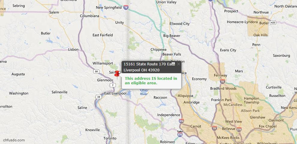 USDA Loan Eligiblity Map - 15161 State Route 170, East Liverpool, OH 43920