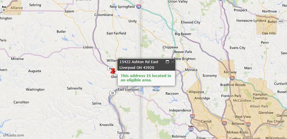 USDA Loan Eligiblity Map - 15422 Ashton Rd, East Liverpool, OH 43920