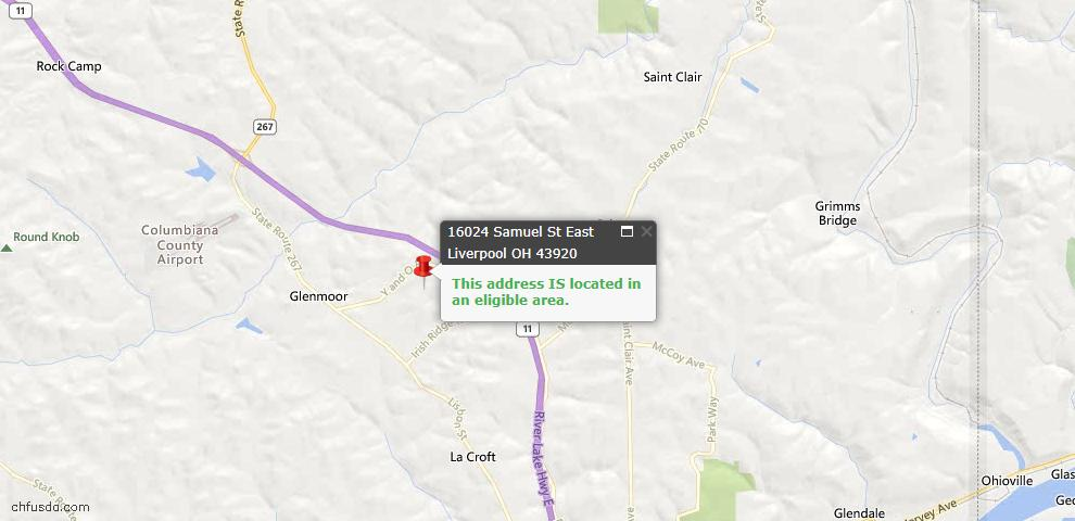 USDA Loan Eligiblity Map - 16024 Samuel St, East Liverpool, OH 43920