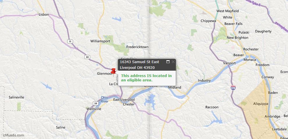 USDA Loan Eligiblity Map - 16343 Samuel St, East Liverpool, OH 43920