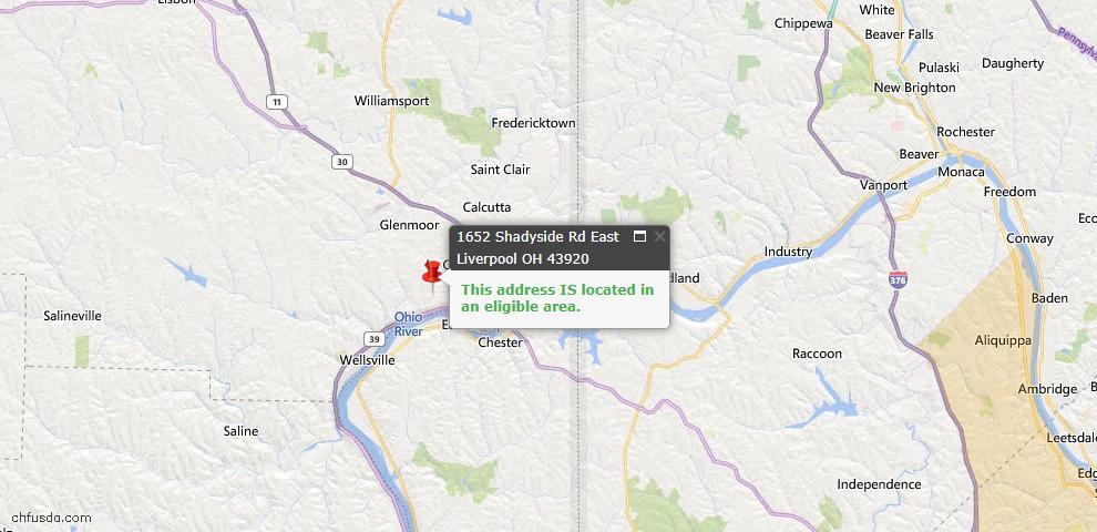 USDA Loan Eligiblity Map - 1652 Shadyside Rd, East Liverpool, OH 43920