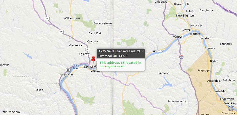 USDA Loan Eligiblity Map - 1725 St Clair Ave, East Liverpool, OH 43920