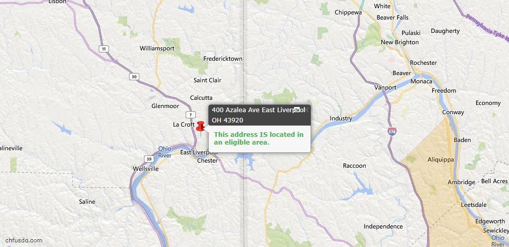 USDA Loan Eligiblity Map - 400 Azalea Ave, East Liverpool, OH 43920