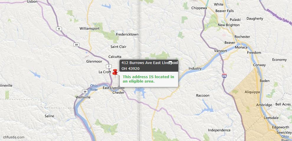 USDA Loan Eligiblity Map - 412 Burrows Ave, East Liverpool, OH 43920