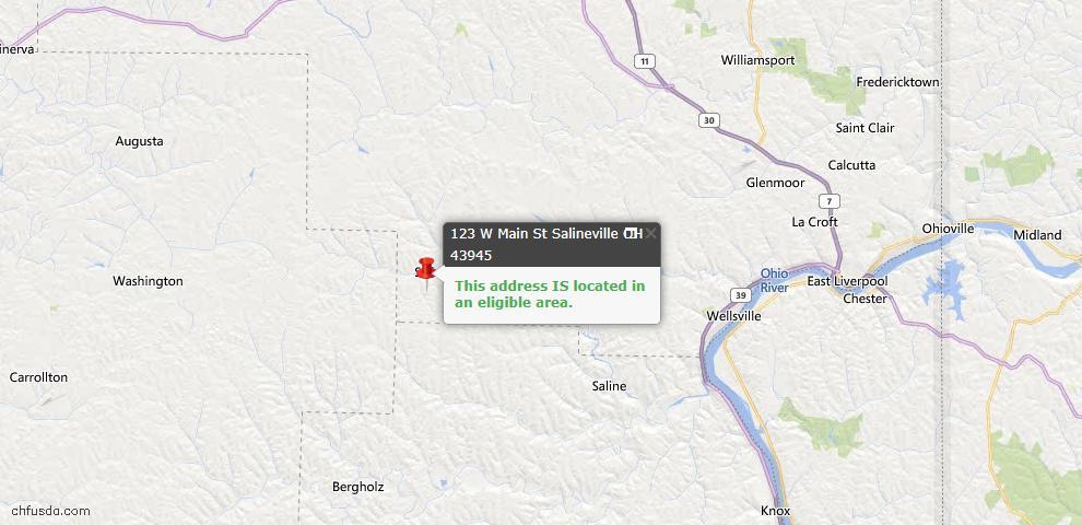 USDA Loan Eligiblity Map - 123 W Main St, Salineville, OH 43945