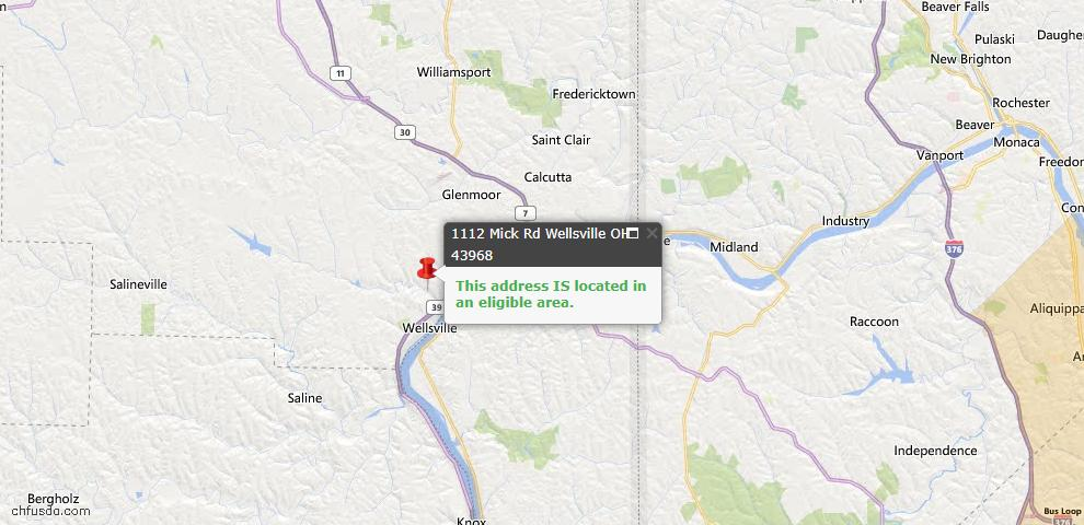 USDA Loan Eligiblity Map - 1112 Mick Rd, Wellsville, OH 43968