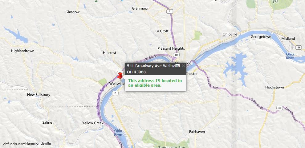 USDA Loan Eligiblity Maps From - Wellsville, OH