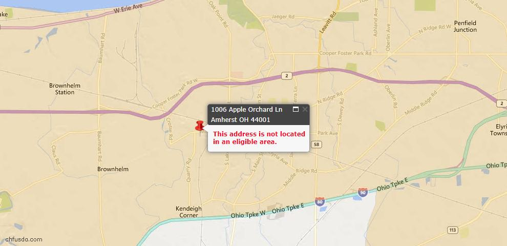 USDA Loan Eligiblity Map - 1006 Apple Orchard Ln, Amherst, OH 44001