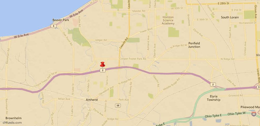 USDA Loan Eligiblity Map - 109 Lakeview Cir, Amherst, OH 44001