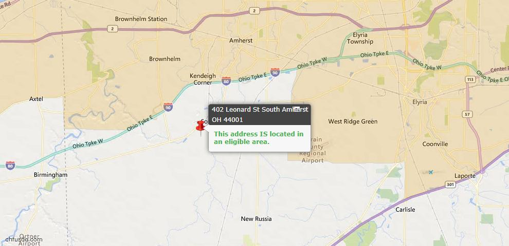 USDA Loan Eligiblity Maps From - South Amherst, OH