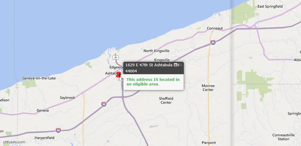 USDA Loan Eligiblity Map - 1629 E 47th St, Ashtabula, OH 44004