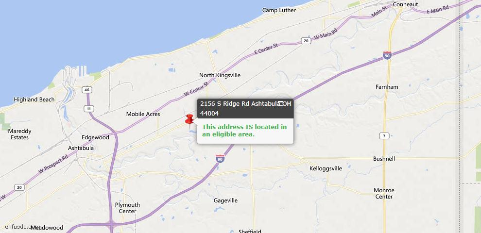 USDA Loan Eligiblity Map - 2156 S Ridge Rd Rd, Ashtabula, OH 44004