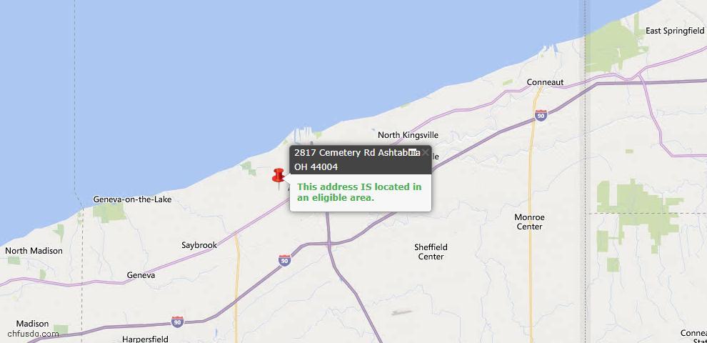 USDA Loan Eligiblity Map - 2817 Cemetery Rd, Ashtabula, OH 44004