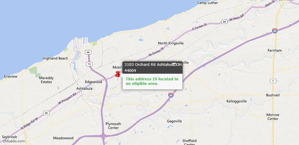 USDA Loan Eligiblity Map - 3103 Orchard Rd, Ashtabula, OH 44004