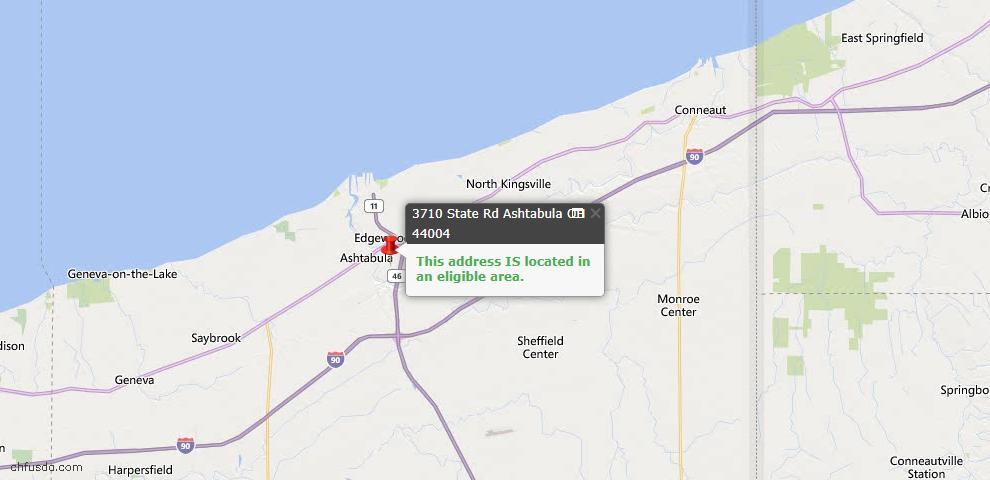 USDA Loan Eligiblity Map - 3710 State Rd, Ashtabula, OH 44004