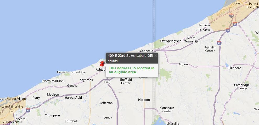 USDA Loan Eligiblity Map - 409 E 23rd St, Ashtabula, OH 44004