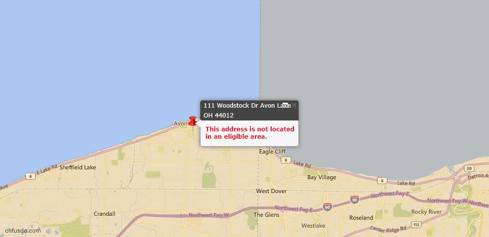 USDA Loan Eligiblity Map - 111 Woodstock Dr, Avon Lake, OH 44012