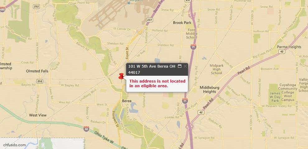 USDA Loan Eligiblity Map - 101 W Fifth Ave, Berea, OH 44017