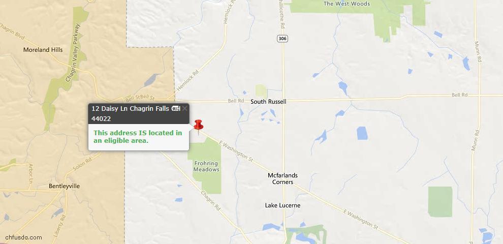 USDA Loan Eligiblity Map - 12 Daisy Ln, Chagrin Falls, OH 44022