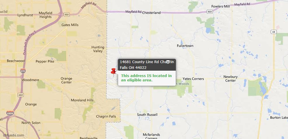 USDA Loan Eligiblity Map - 14681 County Line Rd, Chagrin Falls, OH 44022