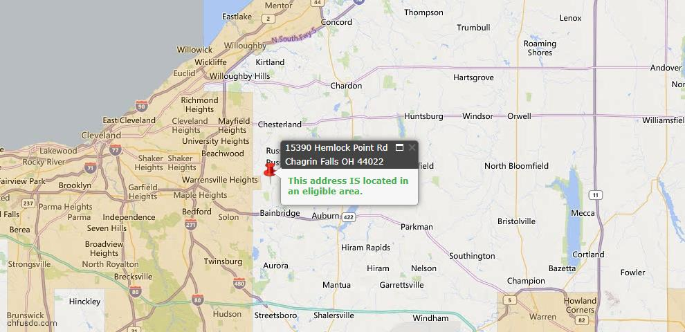 USDA Loan Eligiblity Map - 15390 Hemlock Point Rd, Chagrin Falls, OH 44022