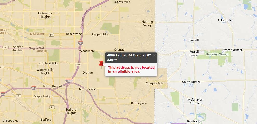 USDA Loan Eligiblity Maps From - Orange, OH