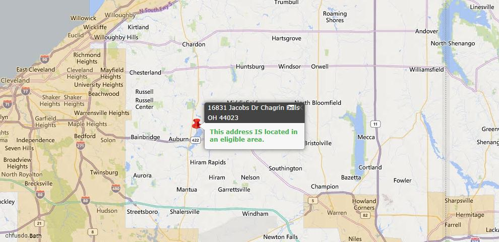 USDA Loan Eligiblity Map - 16831 Jacobs Dr, Chagrin Falls, OH 44023