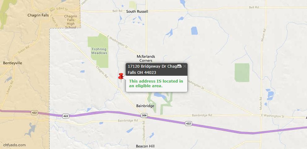 USDA Loan Eligiblity Map - 17120 Bridgeway Dr, Chagrin Falls, OH 44023