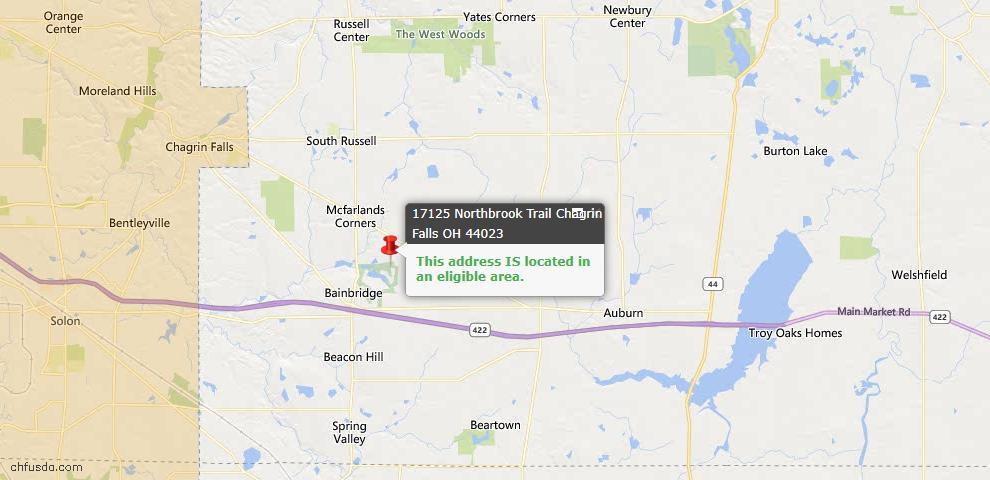 USDA Loan Eligiblity Map - 17125 Northbrook Trl, Chagrin Falls, OH 44023