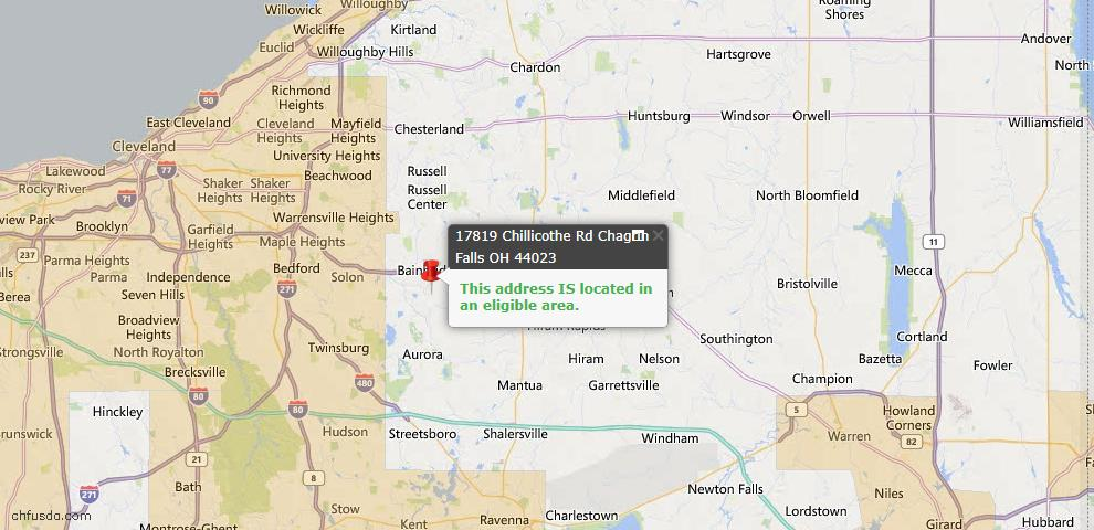 USDA Loan Eligiblity Map - 17819 Chillicothe Rd, Chagrin Falls, OH 44023
