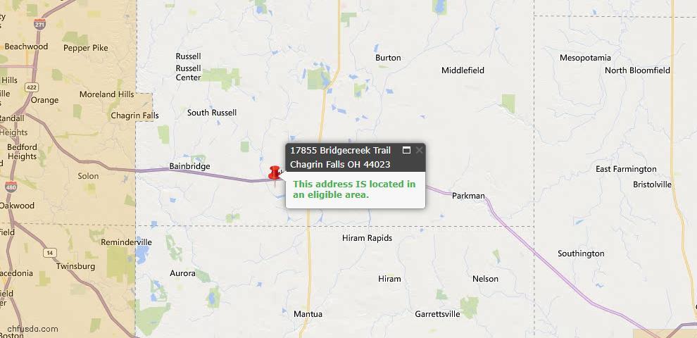 USDA Loan Eligiblity Map - 17855 Bridge Creek Trl, Chagrin Falls, OH 44023