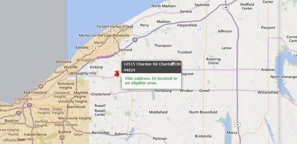 USDA Loan Eligiblity Map - 10515 Chardon Rd, Chardon, OH 44024