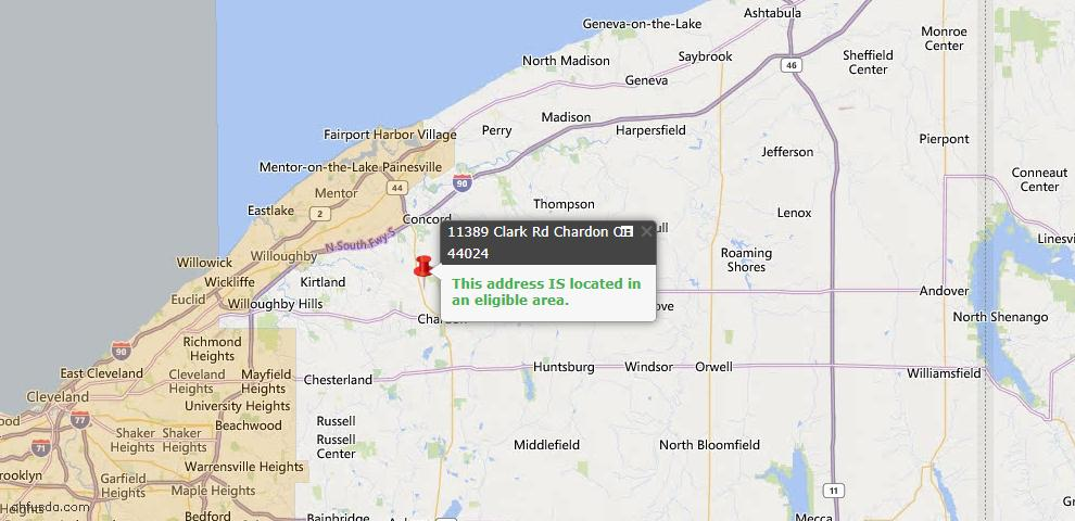 USDA Loan Eligiblity Map - 11389 Clark Rd, Chardon, OH 44024