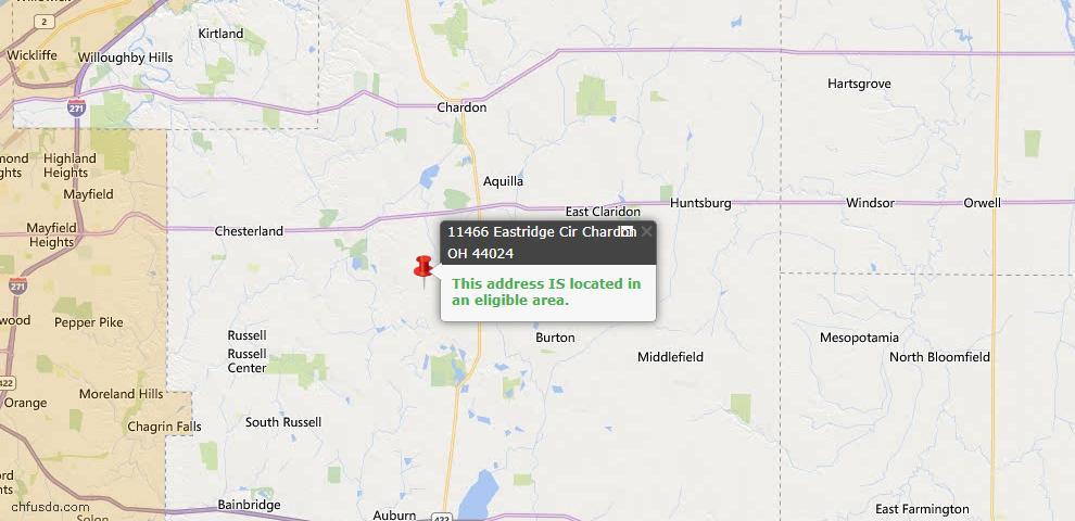 USDA Loan Eligiblity Map - 11466 Eastridge Cir, Chardon, OH 44024